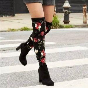 sam edelman   vena over the knee black floral boot